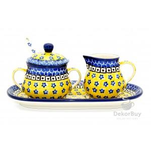 Sugar bowl, Milk jug and spoon- Set